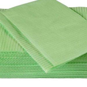 Салфетки маникюрные на стол двухслойные (33*45 см), зеленые 125 шт