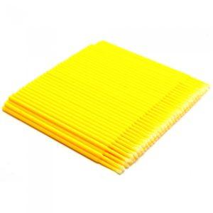 Микробрашинг для наращивания ресниц 100 штук, желтые (fine)