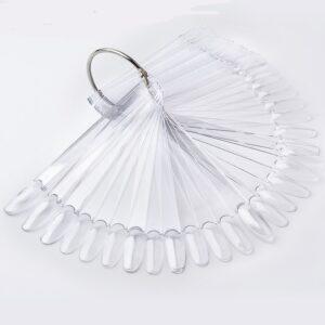 Типсы Веер прозрачные миндаль крупный 50 шт, на кольце