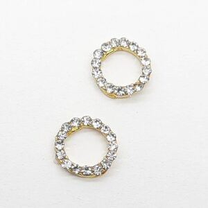 Дизайн круг Золотой со стразами кристалл, 2 шт