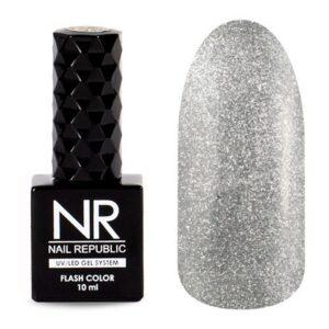 Гель-лак Nail Republic Flash Светоотражающий №04 Серебро, 10 мл