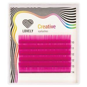 Ресницы Lovely силикон Малиновые Crimson Color микс, D-0,10 10-14мм